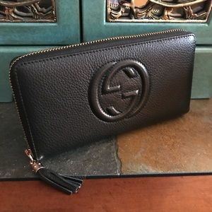 GUCCI SOHO ZIP AROUND LARGE LEATHER WALLET